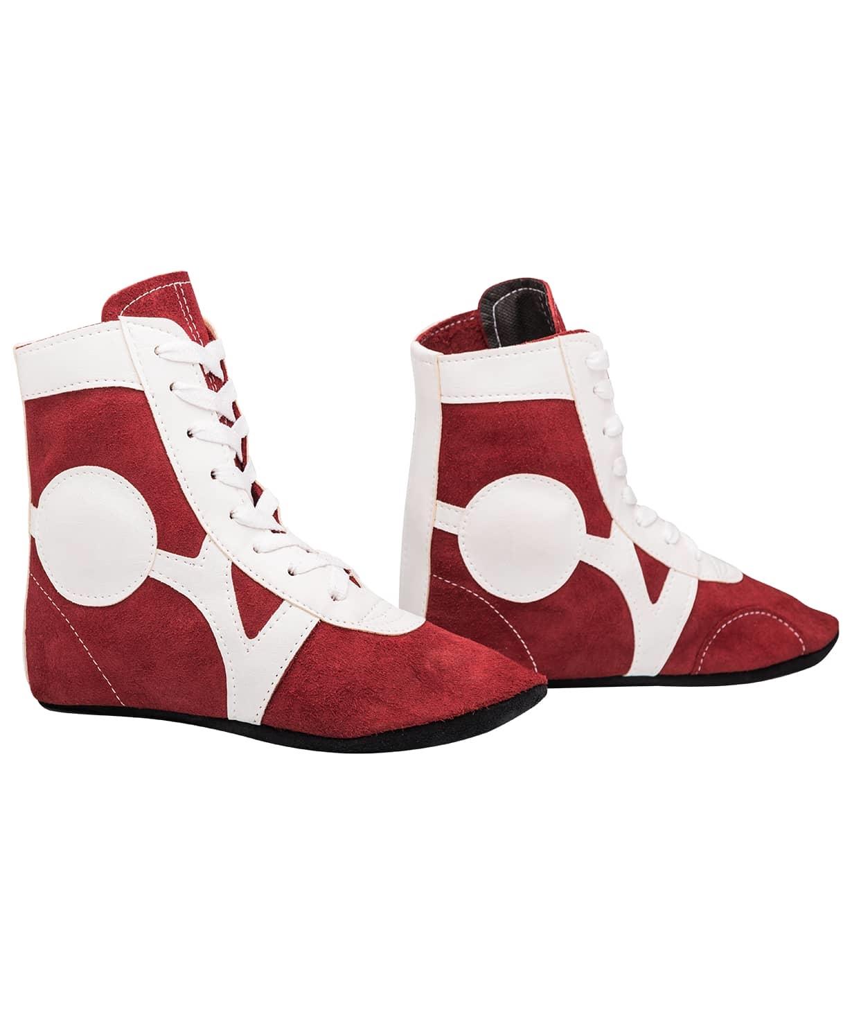 Обувь для самбо RS001/2, замша, красный
