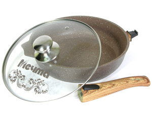 Сковорода 28см АП Гранит brown со съемной ручкой и стекл. Крышкой арт. С028806