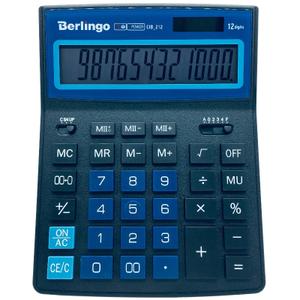"""Калькулятор настольный Berlingo """"City Style"""", 12 разр., двойное питание, 205*155*28, черный/синий"""