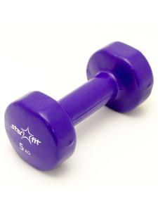 Гантель виниловая STARFIT DB-101 5 кг, фиолетовая (1 шт.) 1/4