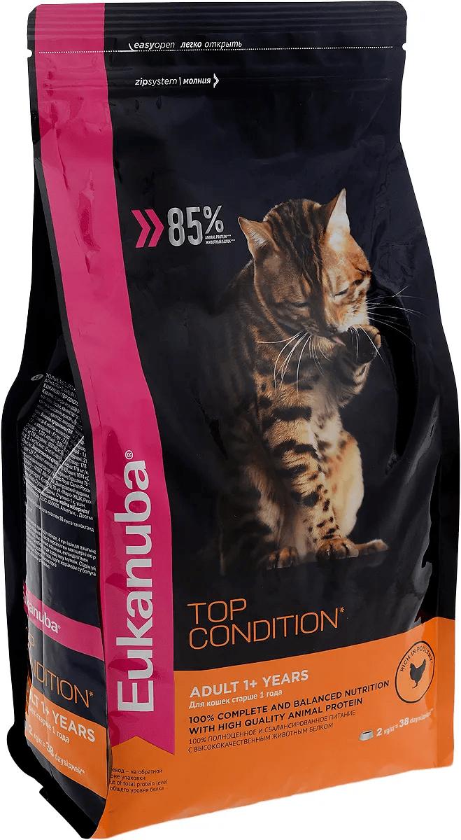 Корм Eukanuba для взрослых кошек с курицей 2 кг