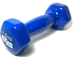 Гантель GO DO в виниловой оболочке.  Вес 1  кг. (Синий)