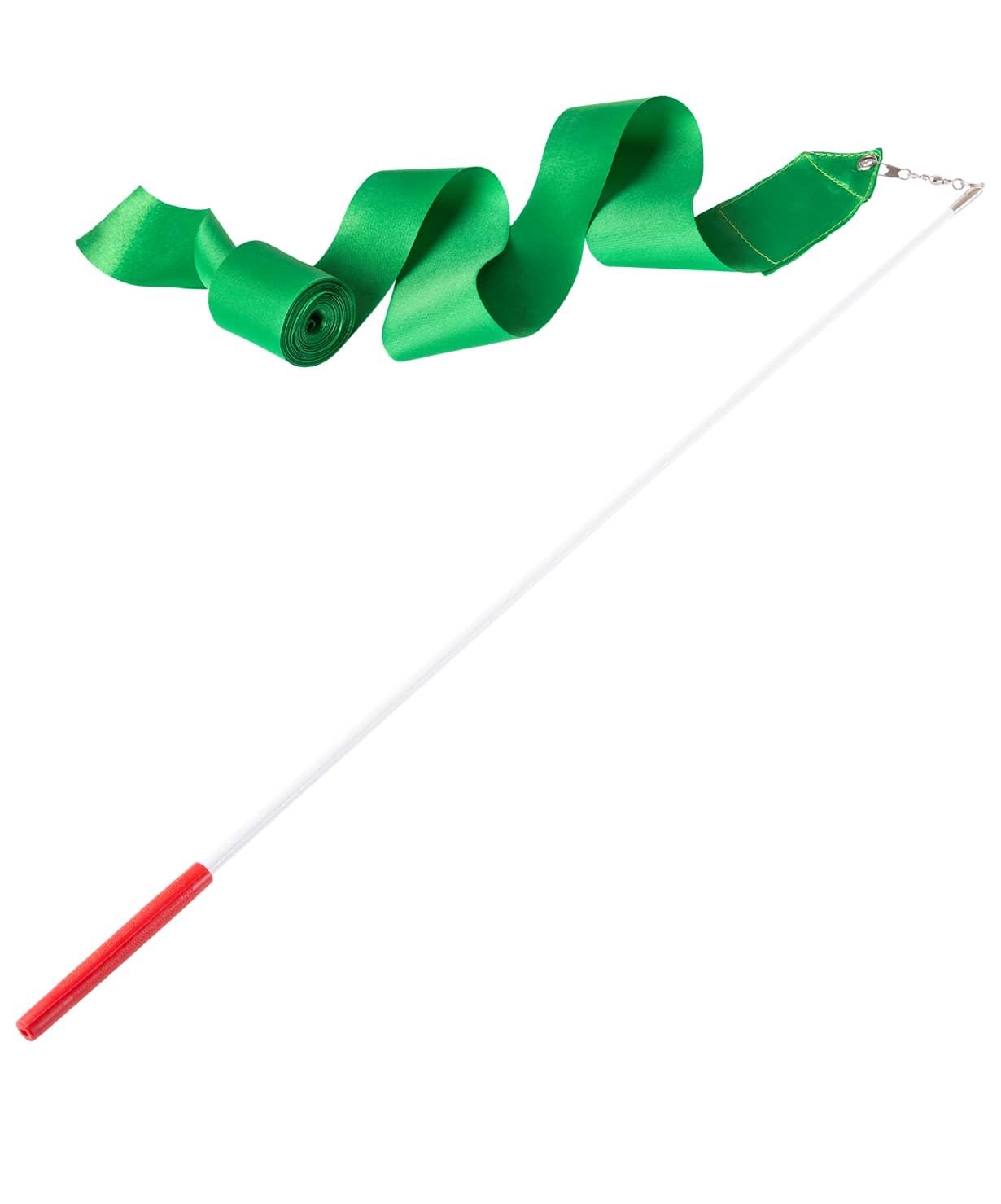 Лента для художественной гимнастики AGR-201 4м, с палочкой 46 см, зеленый