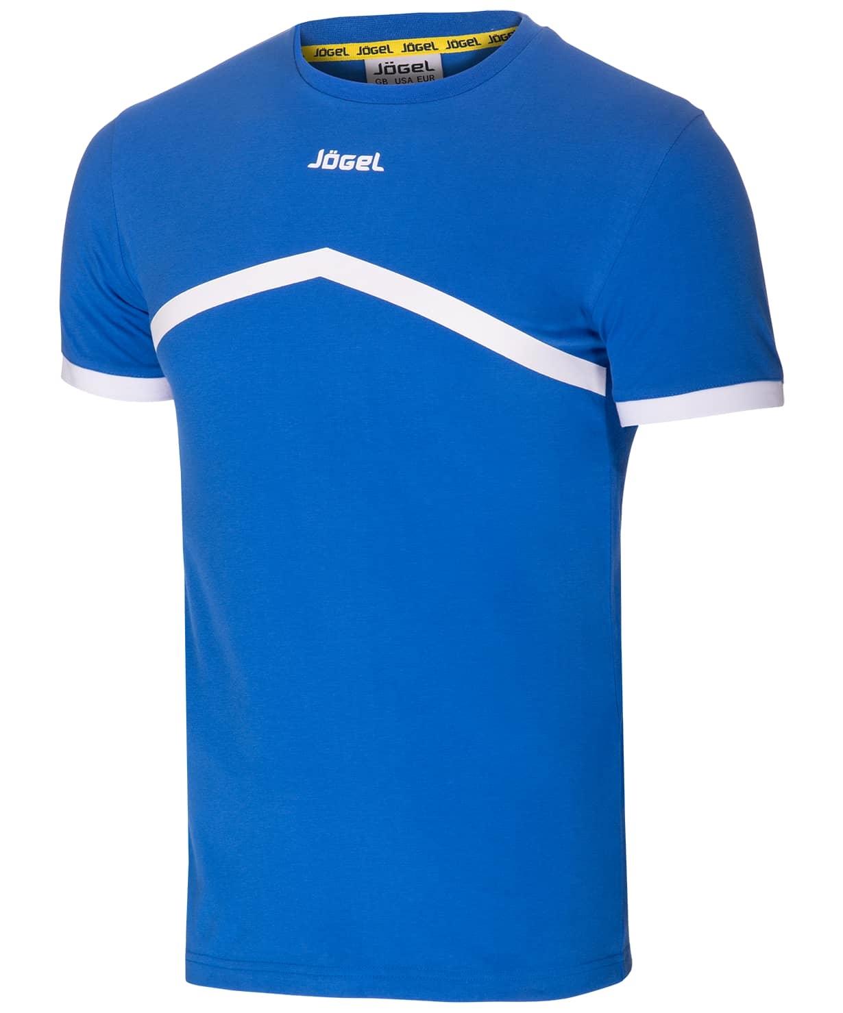 Футболка тренировочная JCT-1040-071, хлопок, синий/белый