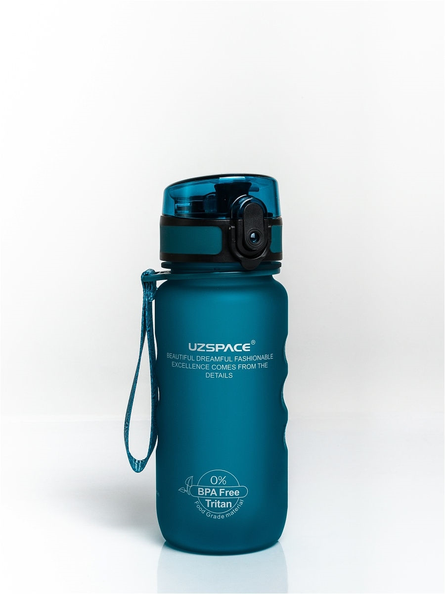 UZSPACE / Бутылка для воды Sports Bottle Straw 350, сине-зеленый