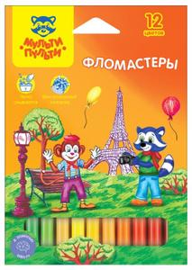 """Фломастеры Мульти-Пульти """"Енот во Франции"""", 12цв., смываемые, картон, европодвес"""