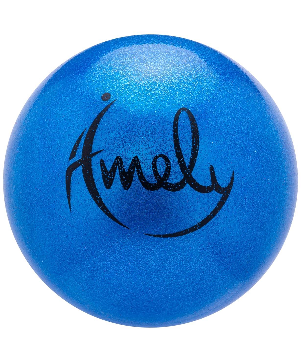Мяч для художественной гимнастики AGB-303 19 см, синий, с насыщенными блестками