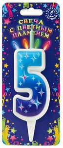"""Свеча для торта цифра """"Цветное пламя"""" """"5"""""""
