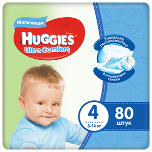 Подгузники Ultra Comfort для мальчиков 4 (8-14 кг) 80 шт Huggies
