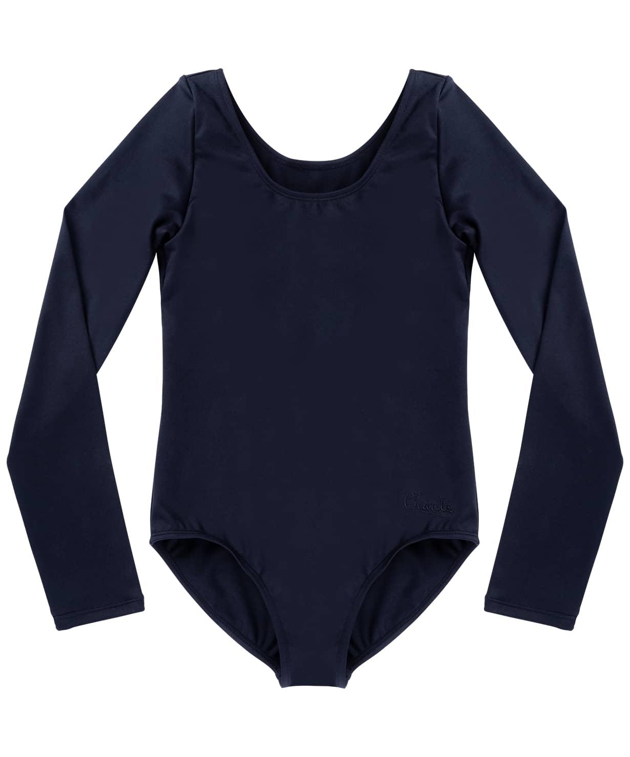 Купальник гимнастический Alica, длинный рукав, хлопок, черный, детский