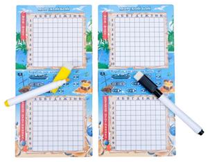 """Настольная игра морской бой """"Тихие воды"""", 2 стираемых маркера, 2 игровых поля"""
